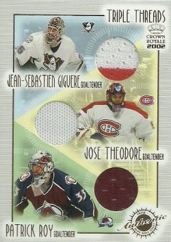 2001/02   Pacific Crown Royale Triple Threads Giguere/Theodore/Roy