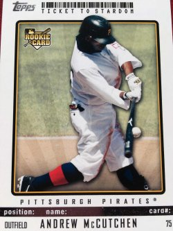 2009 Topps Ticket To Stardom Rookie  ANDREW McCUTCHEN #75 Pittsburgh Pirate MVP OF  SF Giant