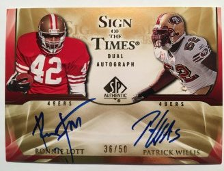 2009 Upper Deck SP Authentic  Sign of the Times Duals #LW Patrick Willis/Ronnie Lott /50