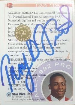1992  Star Pics Troy Vincent Rc Auto