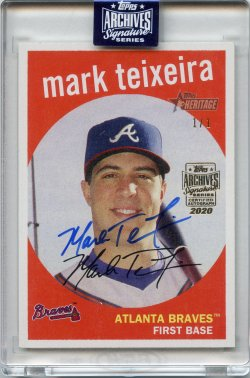 2020 Topps Archives Signatures Retired Mark Teixeira 2008 Topps Heritage