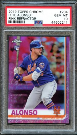 2019   Pete Alonso Topps Chrome Pink Refractor RC PSA 10
