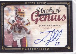 2008 Jason Campbell UD Masterpieces Strokes of Genius On-Card Auto     Redskins A5701