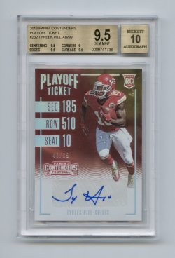 2016 Panini Contenders Playoff Ticket #232 Tyreek Hill AU/99 BGS 9.5/10 (POP15)