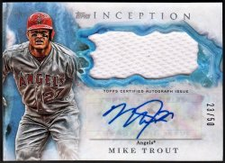 2017   Mike Trout Topps Inception Blue Parallel JSY Auto /50