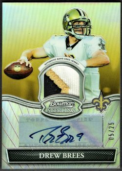 2010   Drew Brees Bowman Sterling Gold Refractor 3-CLR Patch Auto /25