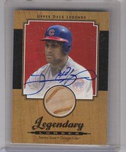 2001 Upper Deck 2001 Upper Deck Legends Legendary Lumber Autographs #SLSS Sammy Sosa SP/66 sammy sosa