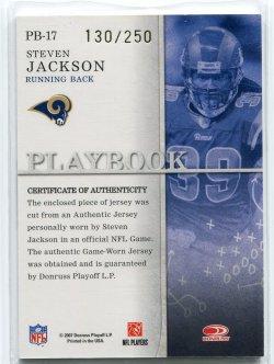 2007 Donruss Gridiron Gear Steven Jackson Playbook Os