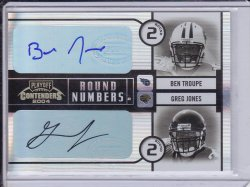 Ben Troupe and Greg Jones 2004 Playoff Contenders Round Numbers Dual AUTO /100