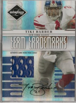 2008 Leaf Limited Tiki Barber Team Trademarks Autograph Material Prime