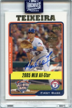 2020 Topps Archives Signatures Retired Mark Teixeira 2005 Topps Update