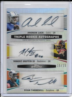 2012 Topps Chrome Triple Rookie Autograph - Andrew Luck, Robert Griffin III & Ryan Tannehill