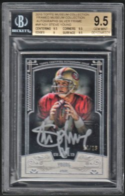 2015   Steve Young Topps Museum Silver Framed Ink Auto #11/15