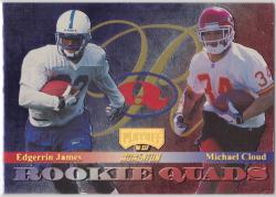 1999 Playoff Momentum SSD Rookie Quads Gold w/ Michael Cloud/Jeff Paulk/Joel Makovicka Edgerrin James