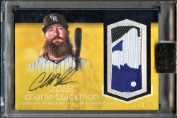 2018   Charlie Blackmon Topps Dynasty Gold Parallel MLB Logo Patch Auto #1/1 *ENCASED*