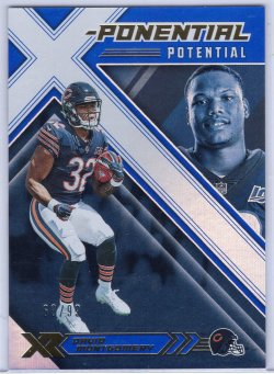 2019 Panini XR David Montgomery XR X-Ponential Potential Blue
