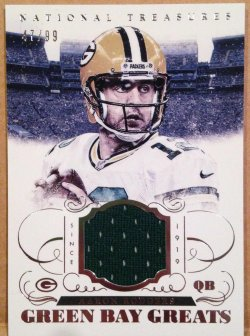 2014 Panini National Treasures Aaron Rodgers Green Bay Greats Jersey