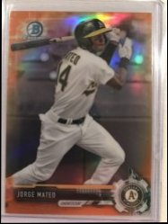 2017 Bowman Draft Chrome Orange Refractor Jorge Mateo