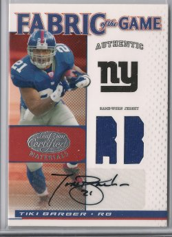 2007 Leaf Certified Materials Tiki Barber Fabric of the Game Position Autograph