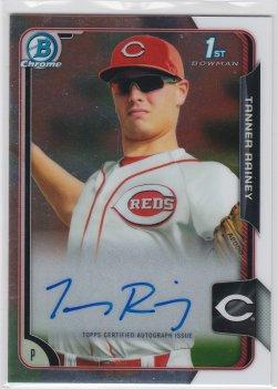 2015 Tanner Rainey Bowman Chrome  On-Card Auto RC   Reds B2471