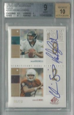 2003 Upper Deck SP Game UsedSignificant Signatures Dual Brunell and Simms