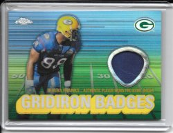 2003 Topps Chrome Gridiron Badges Jersey - Bubba Franks