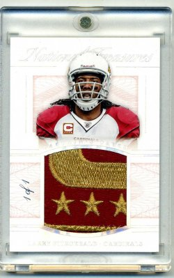 2015 Panini National Treasures Larry Fitzgerald 1/1 Captains Patch Auto