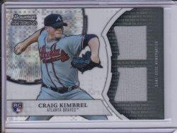 Craig Kimbrel 2011 Bowman Sterling Rookie Dual Relics Xfractor JSY /199