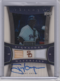 2005 Upper Deck trilogy tony gwynn 2005 Upper Deck Trilogy Signature Materials Dual #TG Tony Gwynn Bat-Jsy