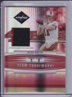 Alex Smith 2006 Leaf Limited Team Trademarks Materials Prime JSY /30