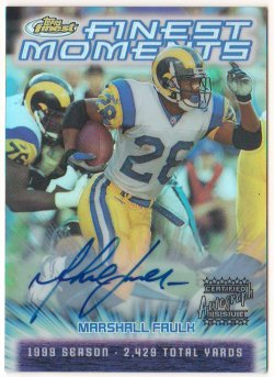 2000  Finest Moments Refractors Autographs Marshall Faulk