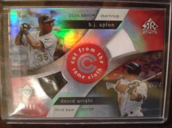 David Wright and B.J. Upton 2005 Reflections Cut From the Same Cloth Dual JSY Red /99 (creased)