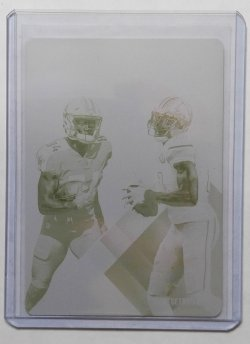 2017 Panini XR Corey Davis/Calvin Johnson Mirrored Yellow Printing Plate