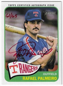 2014 Topps Heritage Rafael Palmeiro - Real One Autograph Special Edition Red Ink