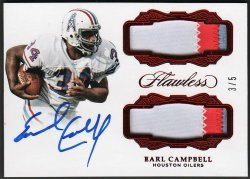 2017   Earl Campbell Flawless Ruby Dual 3-CLR Patch Auto #3/5