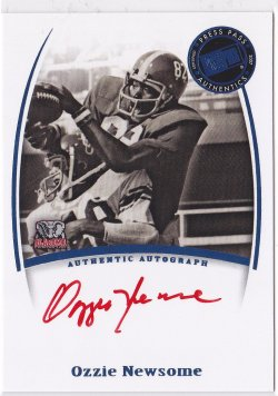 2007 Ozzie Newsome Press Pass Legends Red Ink SP On-Card Auto  (Stated Print Run) /48*  Alabama A5715