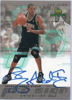 2000-01 Upper Deck MVP Abdur-Rahim, Shareef -  ProSign
