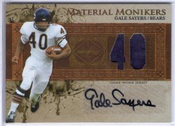 2007 Leaf Limited Gale Sayers Material Monikers Jersey Autograph