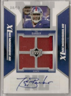 2006 Upper Deck XL Memorabilia Tiki Barber Autograph Patch