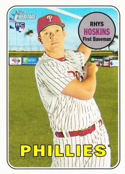2018 Topps Heritage Rhys Hoskins Action Variation