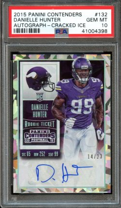2015 Panini Contenders Cracked Ice Rookie Ticket Auto Danielle Hunter
