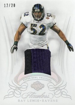2019 Panini Flawless Ray Lewis Superbowl Swatches Silver
