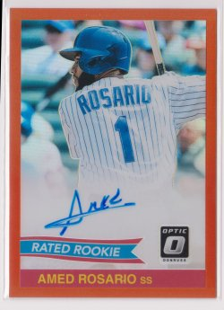 2018 Amed Rosario Donruss Optic 1984 Rated Rookie Orange On-Card Auto RC 21/49  Mets B2597