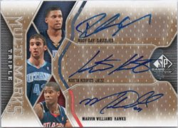 2009-10 Upper Deck SP Game Used Rudy Gay / Kosta Koufos / Marvin Williams - Multi Marks Triple