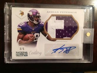 2013 Panini National Treasures Adrian Peterson Patch Auto
