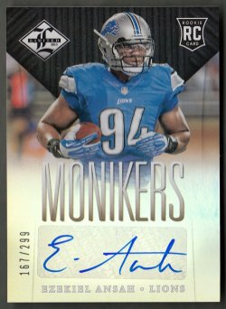 2013  Limited Monikers Autographs Silver Ezekiel Ansah