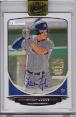 Aaron Judge 2017 Topps Archives Signature Series 2013 Bowman Draft Buyback Autograph /99
