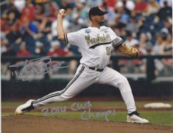 2014   Tyler Beede Signed IP 8x10 Photo with 2014 CWS Champs Inscription