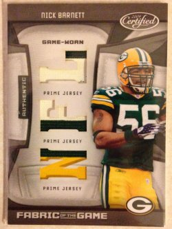 2009 Panini Certified Nick Barnett Fabric of the Game Prime