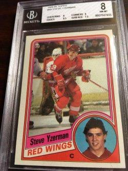 1984 Topps BGS 8 NM-MT RC STEVE YZERMAN #49 Detroit RedWing HOF Captain #19